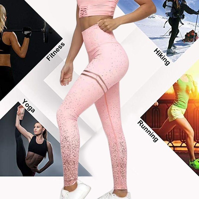 Printed Slim Fitness Leggings Women Sexy Gradient Push Up Leggins Workout Printing Sleeveless Crop Tops and Pants Sets Gymwear