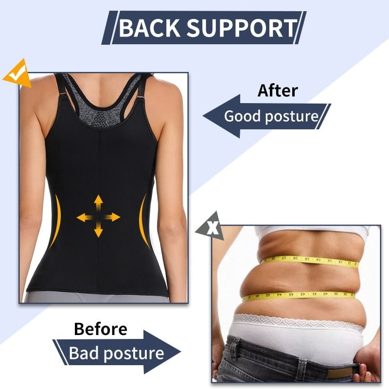 Women Neoprene Sauna Waist Trainer Corset Waist Cincher Steel Boned Body Shaper Vest with Adjustable Straps Faja Shapewear