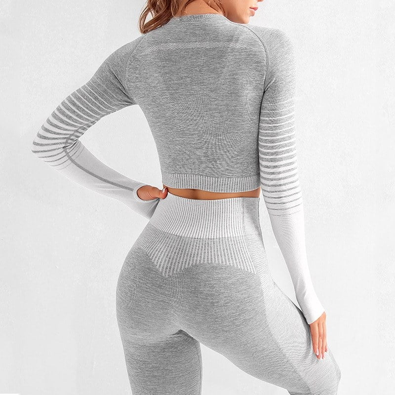 Seamless Women Yoga Set Long Sleeve Top High Waist Belly Control Sport Leggings Gym Clothes Seamless Sport Suit canbe alone buy