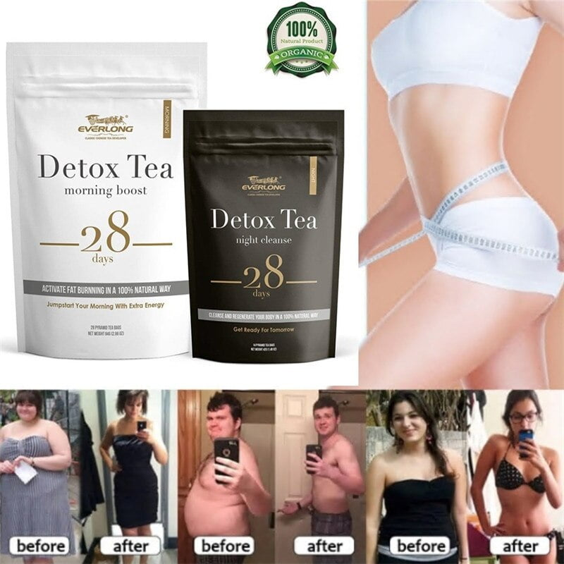 28 Days Evening & Morning Detox Tea Burning Fat Colon Cleanse Flat Belly Natural Balance Accelerated Weight Loss Products